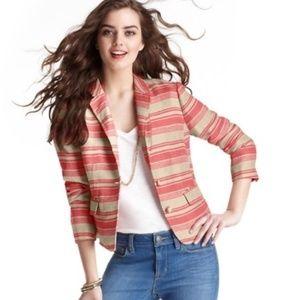 LOFT Coral Striped Linen Blazer